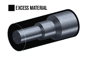 Illustration showing the excess material after the machining process